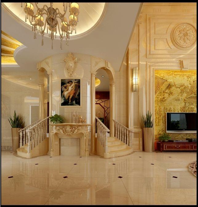 别墅欧式风格客厅客厅隔断