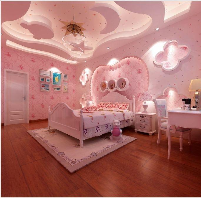 三居室现代风格小卧室圆形吊顶_小孩房装修效果图