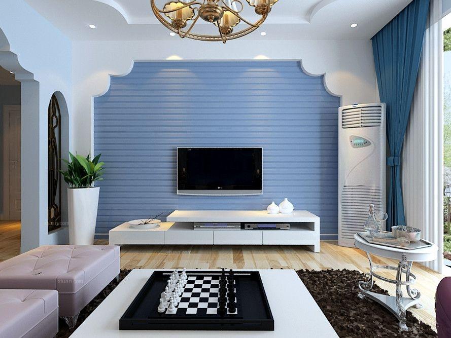 欧式浅蓝色壁纸客厅装修效果图