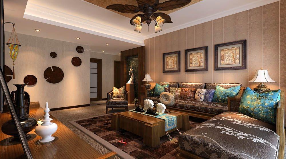 三居室东南亚风格客厅沙发背景墙