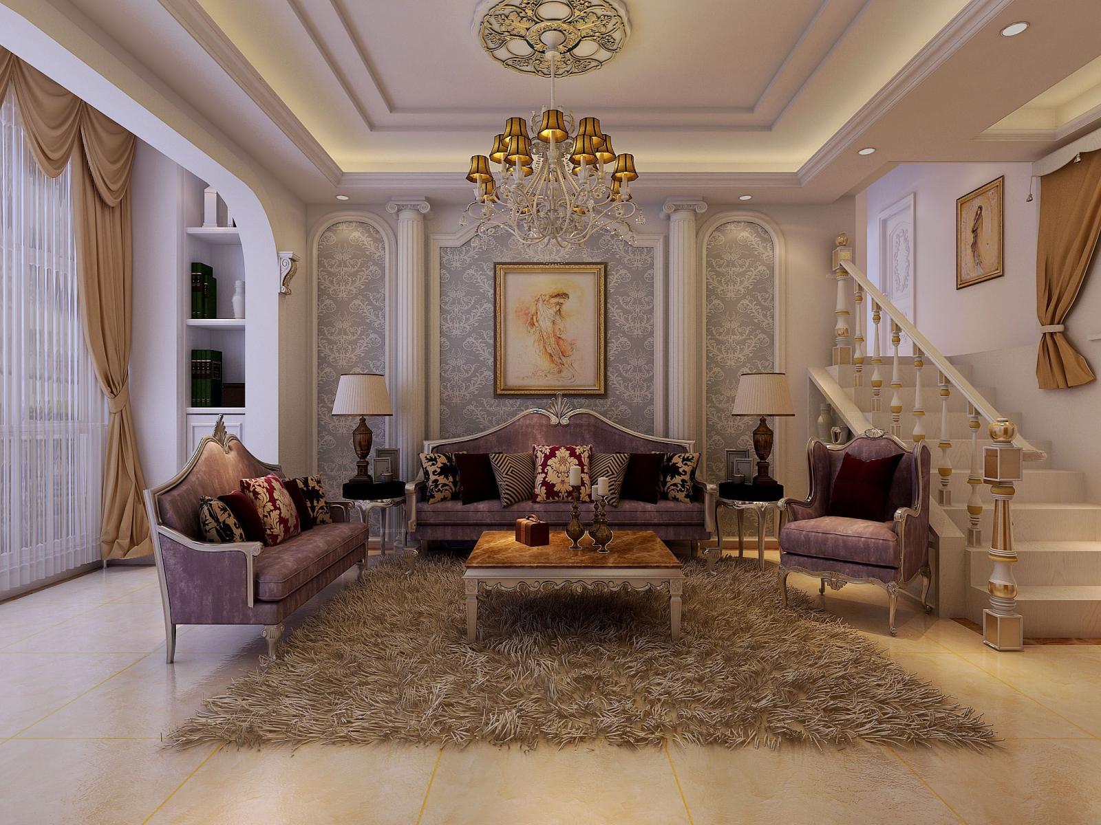 跃层欧式风格客厅沙发背景墙