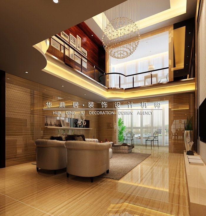 复式楼欧式风格客厅圆形吊顶图片
