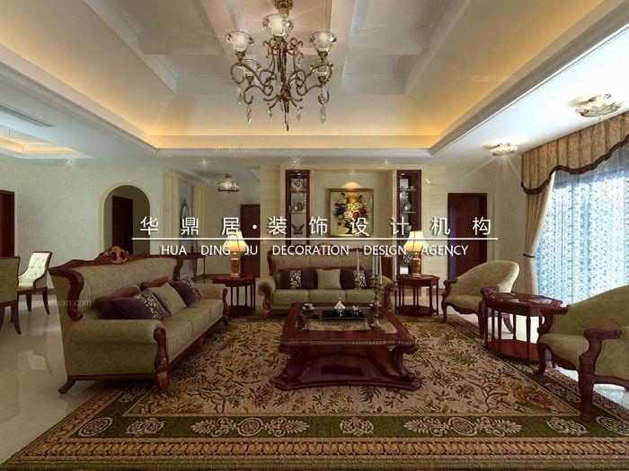 独栋别墅欧式风格客厅圆形吊顶