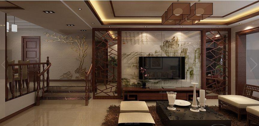 四居室中式风格客厅影视墙