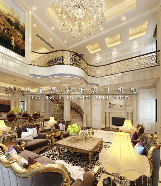 别墅欧式风格客厅圆形吊顶_【560㎡5房3厅星海湾】居