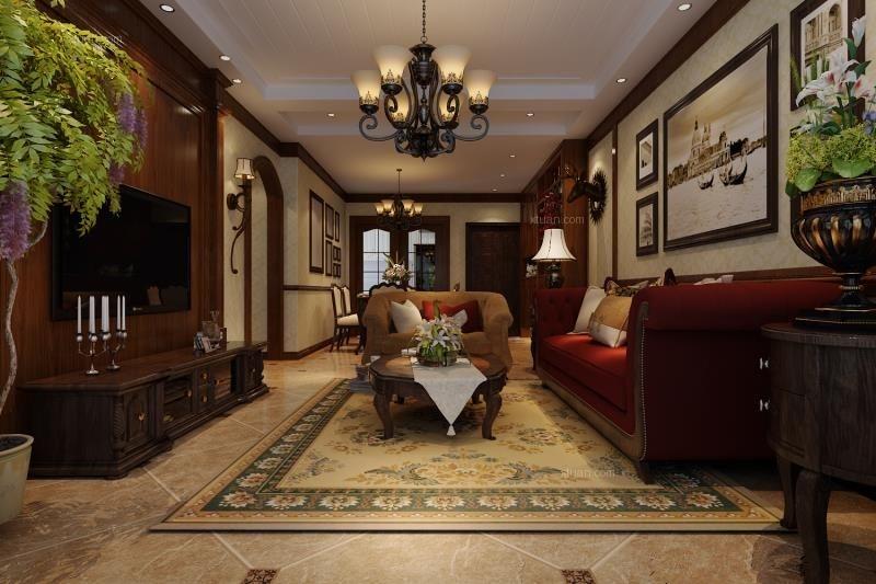 四居室欧式风格客厅照片墙