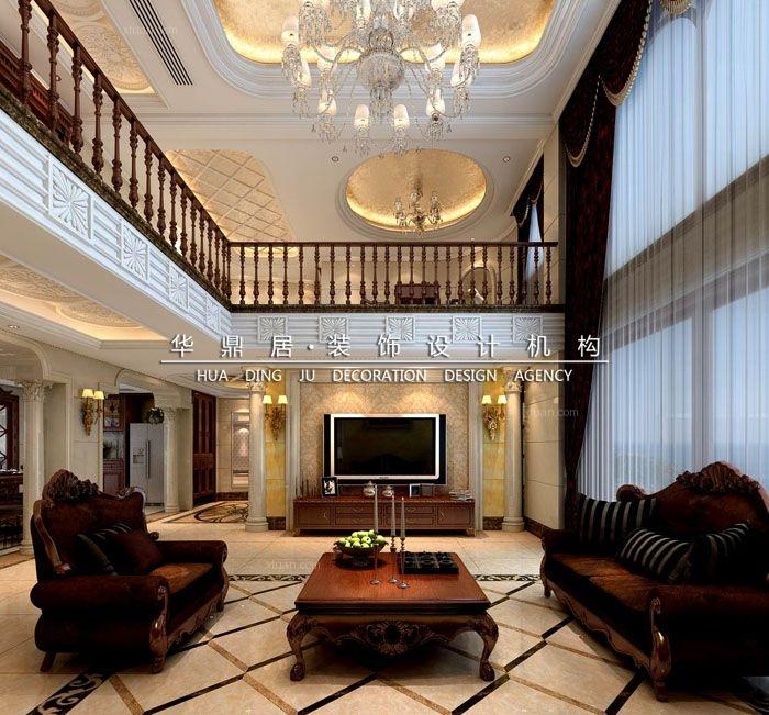 复式楼欧式风格客厅圆形吊顶