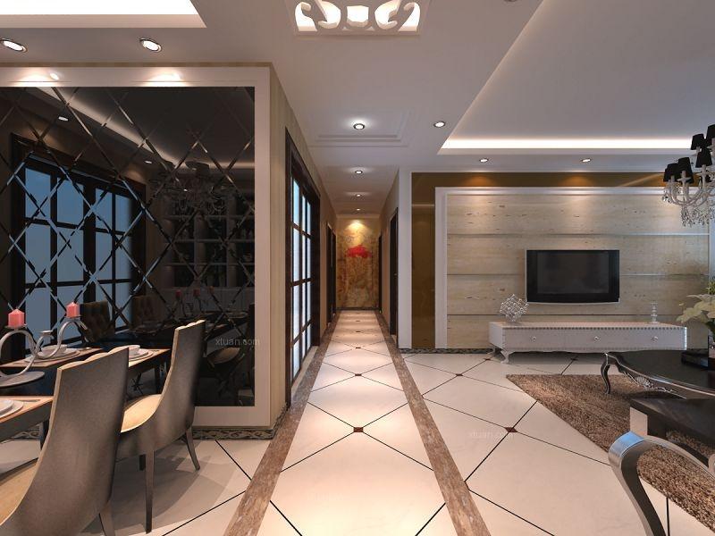 三居室简欧风格客厅电视背景墙_壹号城邦装修效果图-x图片