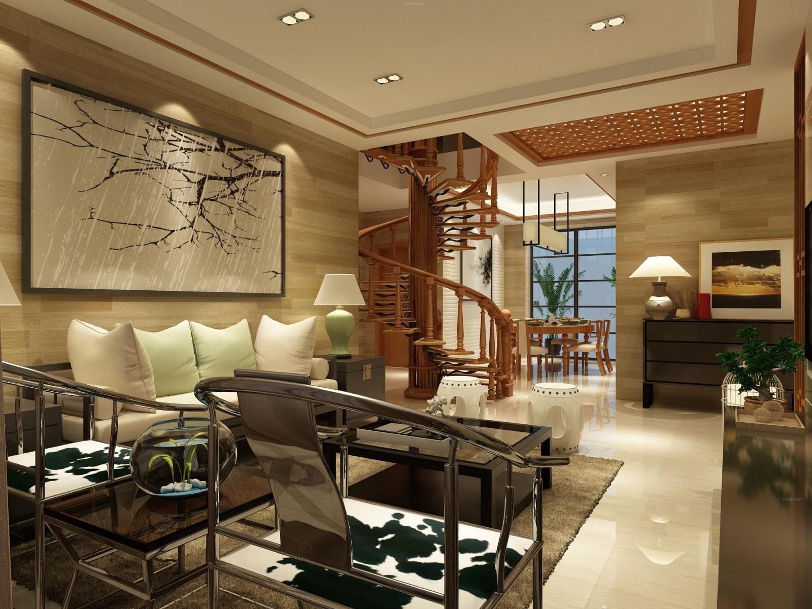 复式楼中式风格客厅沙发背景墙图片