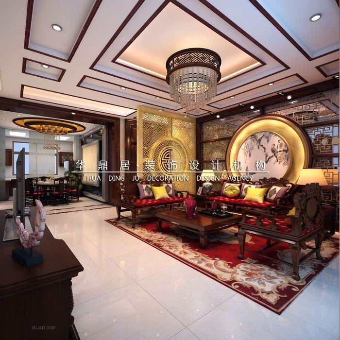 别墅中式风格客厅圆形吊顶图片