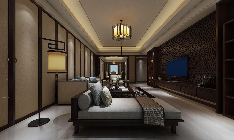 三室两厅中式风格客厅_简中风格住宅1装修效果图-x团图片