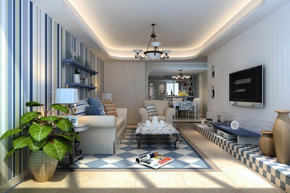 两居室地中海风格客厅沙发背景墙