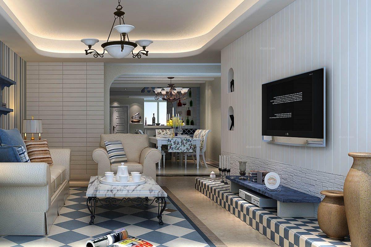 两居室地中海风格客厅电视背景墙图片