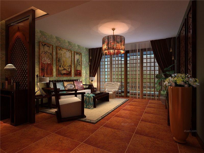 四居室东南亚风格客厅照片墙