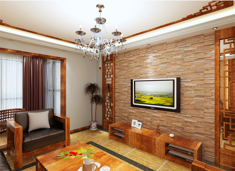 四居室中式风格客厅电视背景墙