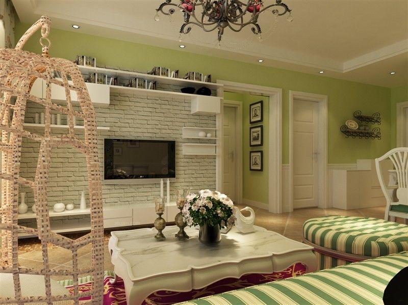 两居室田园风格客厅电视背景墙