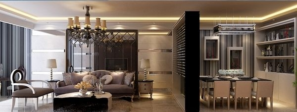 三居室欧式风格客厅_名泉春晓105平米-现代简约风格