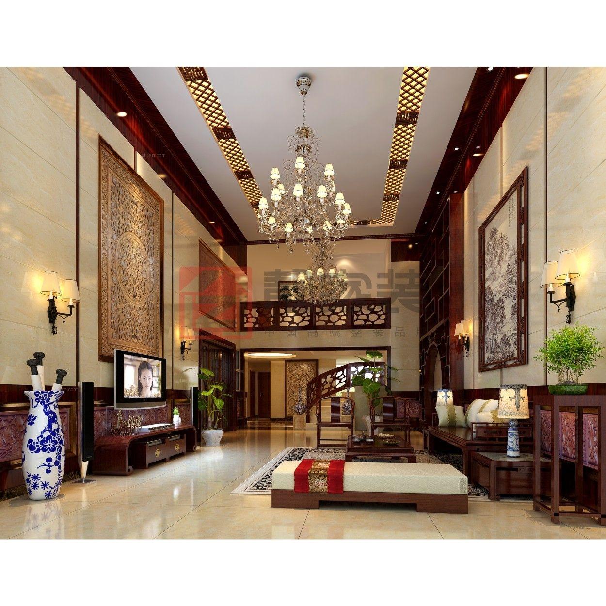 别墅中式风格客厅_半岛半山 6房3厅装修效果图-x团
