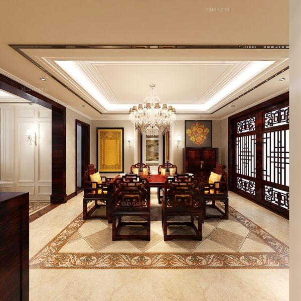 四居室中式风格客厅