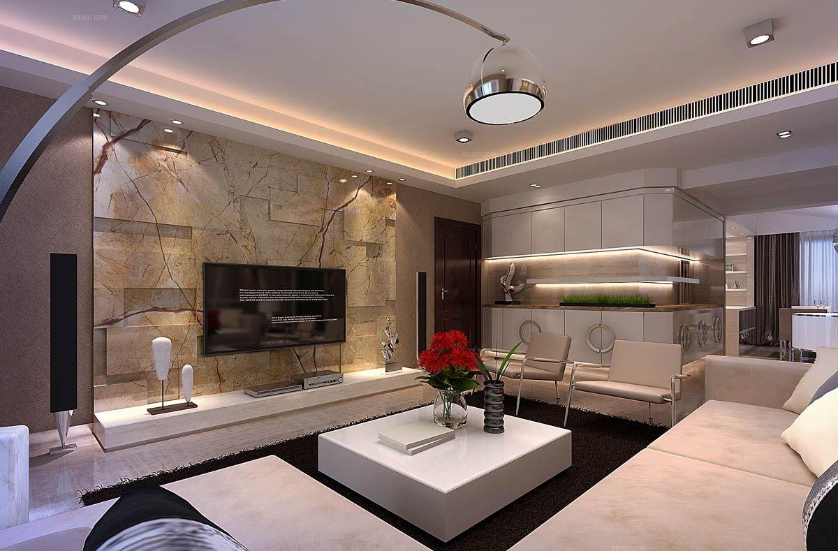 复式楼现代风格客厅电视背景墙_新景5.8装修效果图
