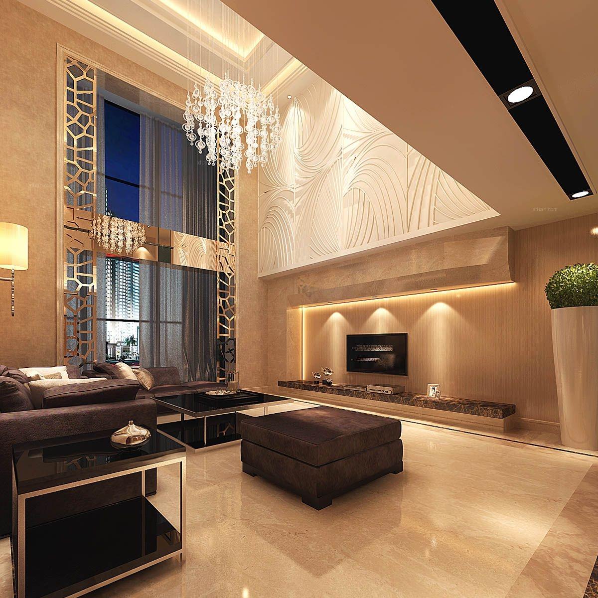 复式楼欧式风格客厅电视背景墙_新景5.8装修效果图图片