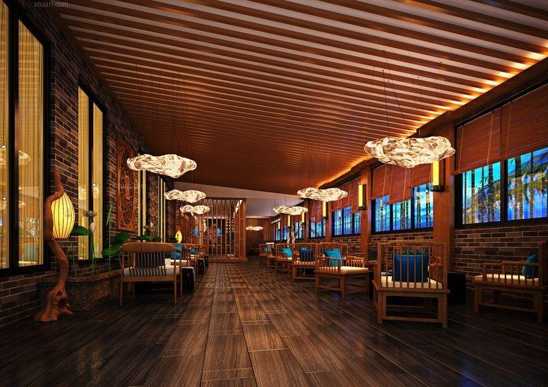 中式风格茶馆_足浴店设茶楼休闲中心设计装修效果图-x图片