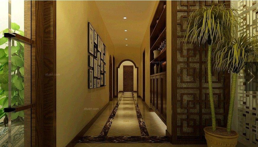 三居室现代风格过道照片墙