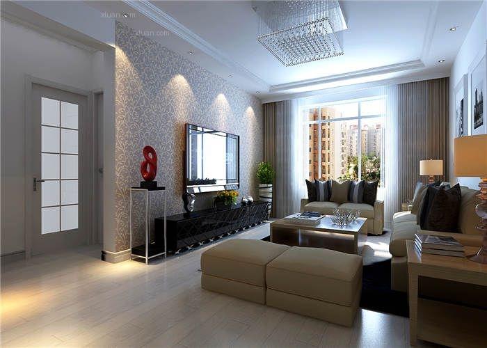 两居室现代简约客厅_方大盛景94㎡简约现代郭柱装修