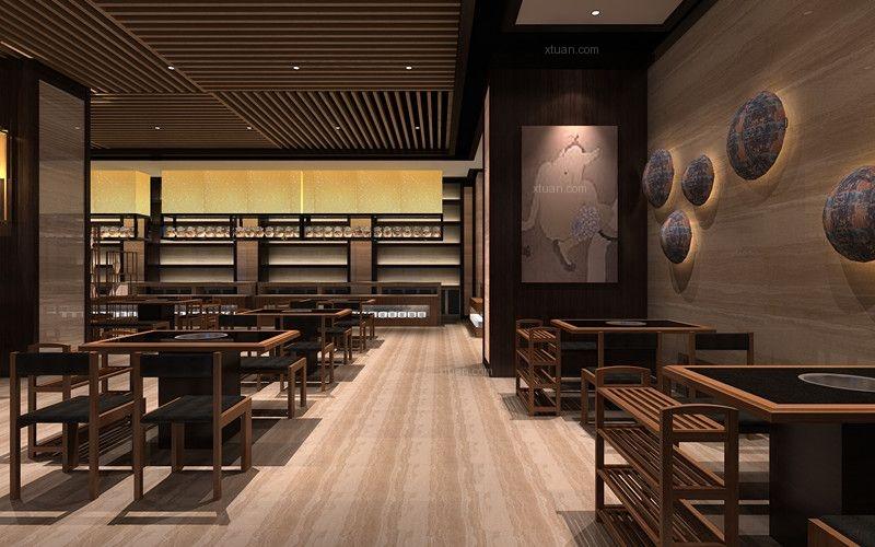 火锅餐厅设计-西安红鼎火锅装修效果图