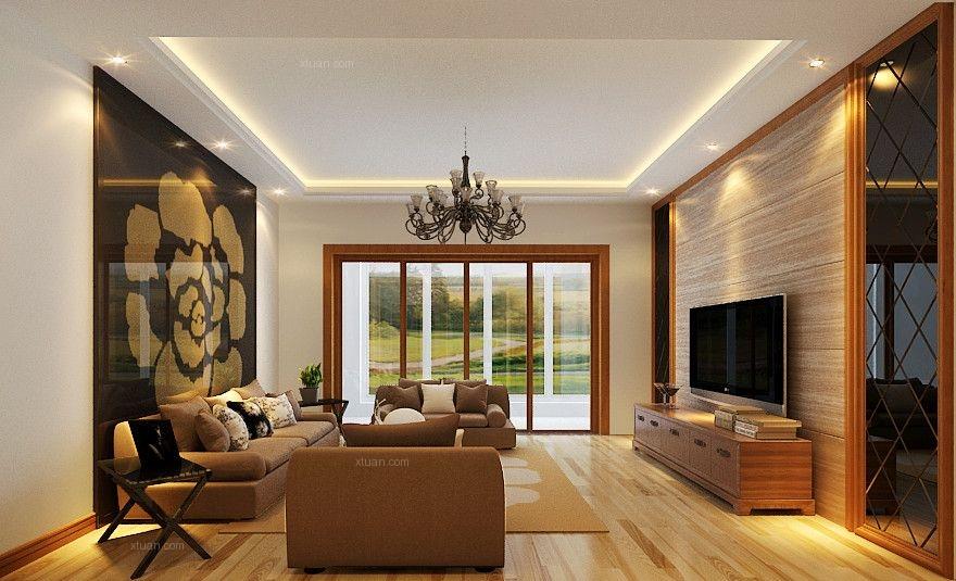 大户型简约风格客厅软装_祥和家园大户型装修效果图-x