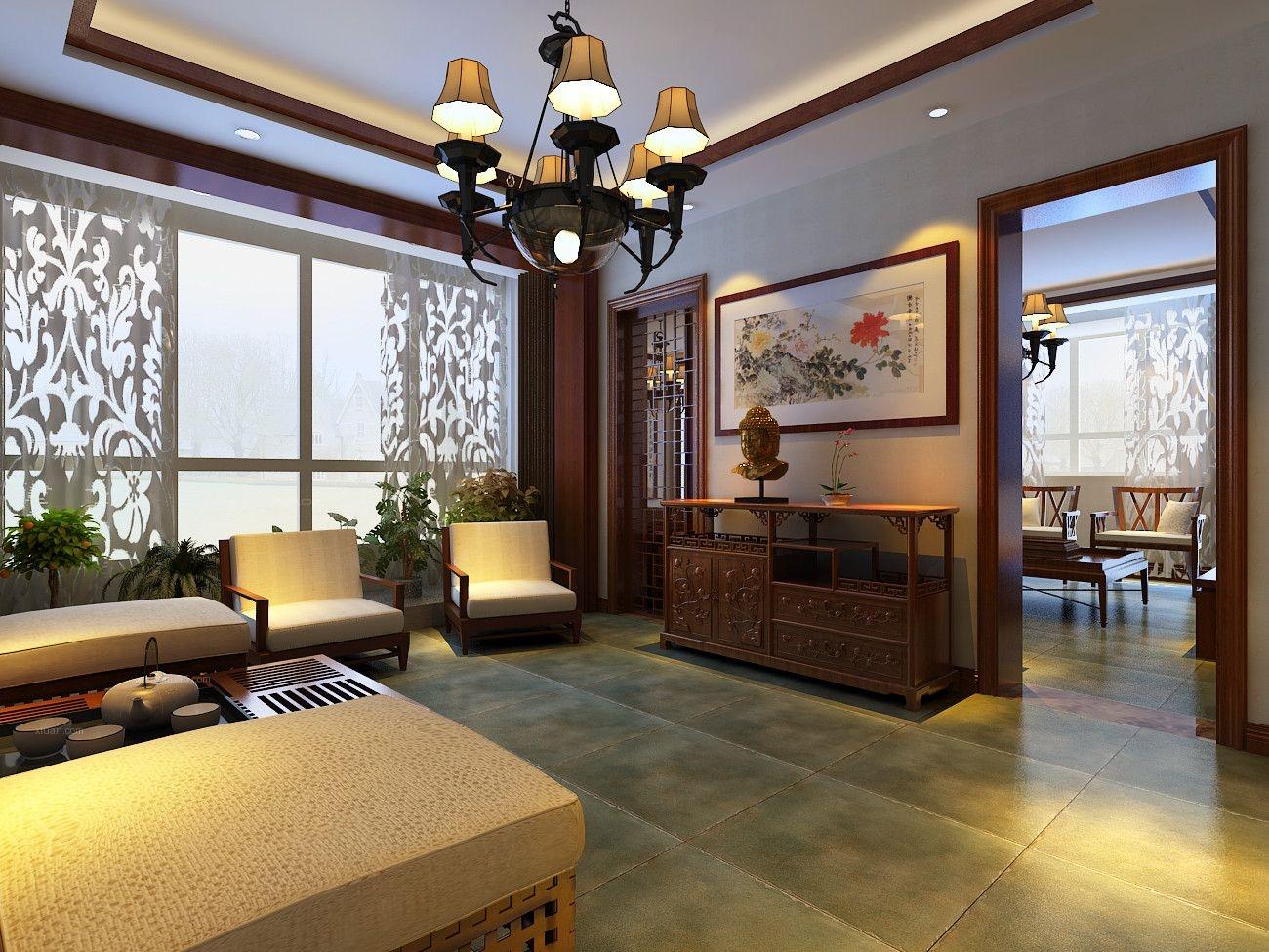 两居室中式风格客厅软装_香蓝蒲河80平新中式风格设计图片