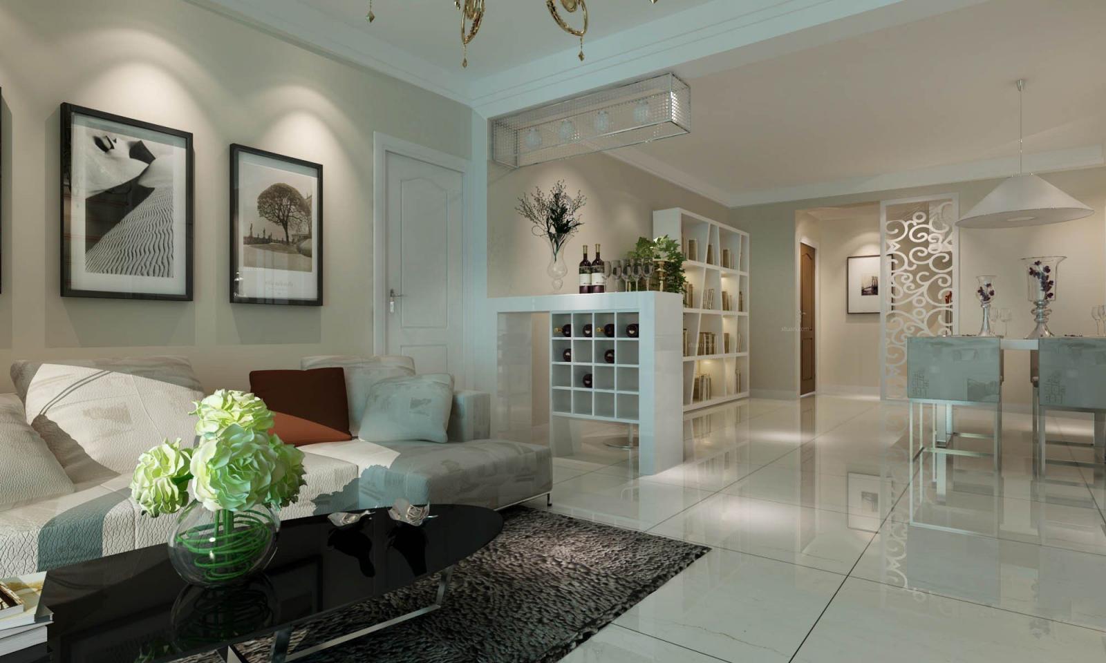 三居室现代简约客厅照片墙