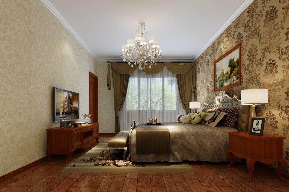 大户型欧式风格卧室电视背景墙图片