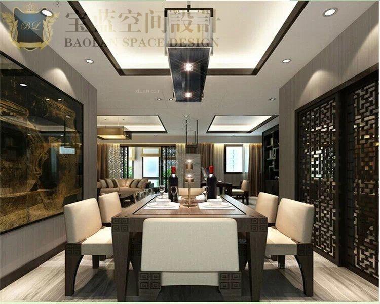 三居室中式风格餐厅圆形吊顶