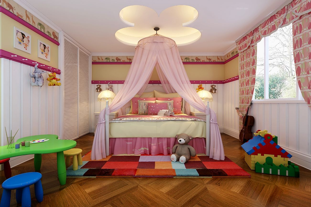 别墅法式风格婴儿房卧室背景墙