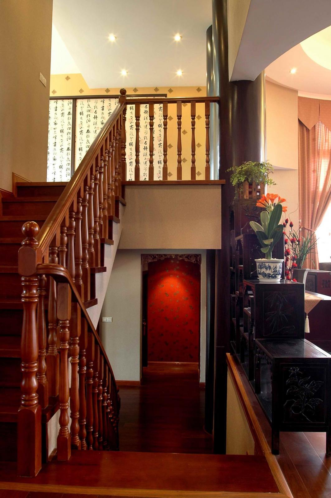 复式楼中式风格客厅_中式 泉发花园装修效果图-x团图片