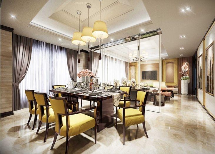 四居室欧式风格餐厅_华府上院欧式案例装修效果图-x