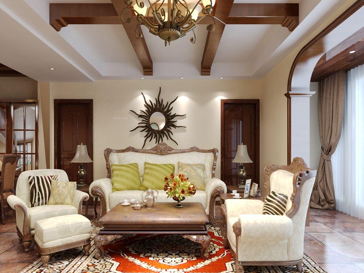三室两厅美式风格客厅沙发背景墙_升龙城装修效果图-x图片