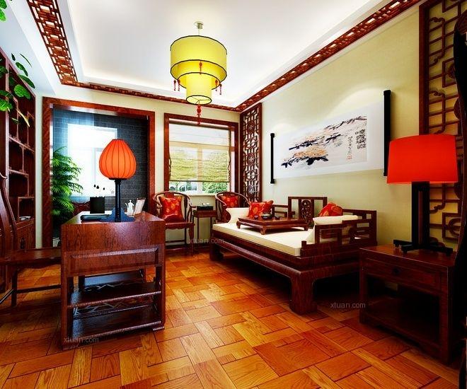 三居室中式风格客厅照片墙