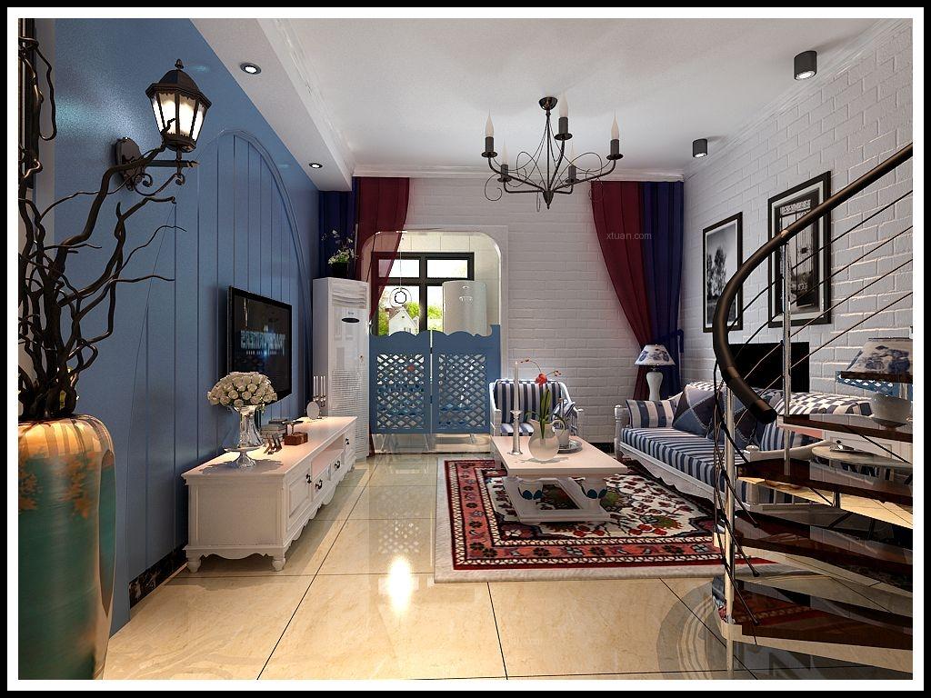 单身公寓地中海风格客厅