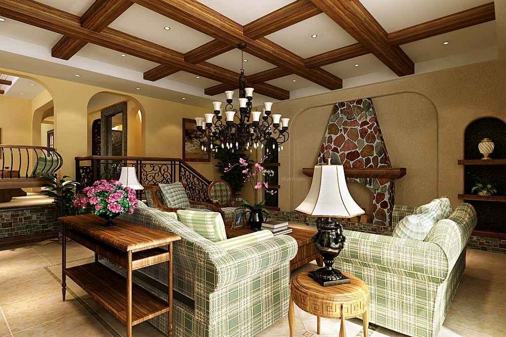 联排别墅美式风格客厅沙发背景墙图片