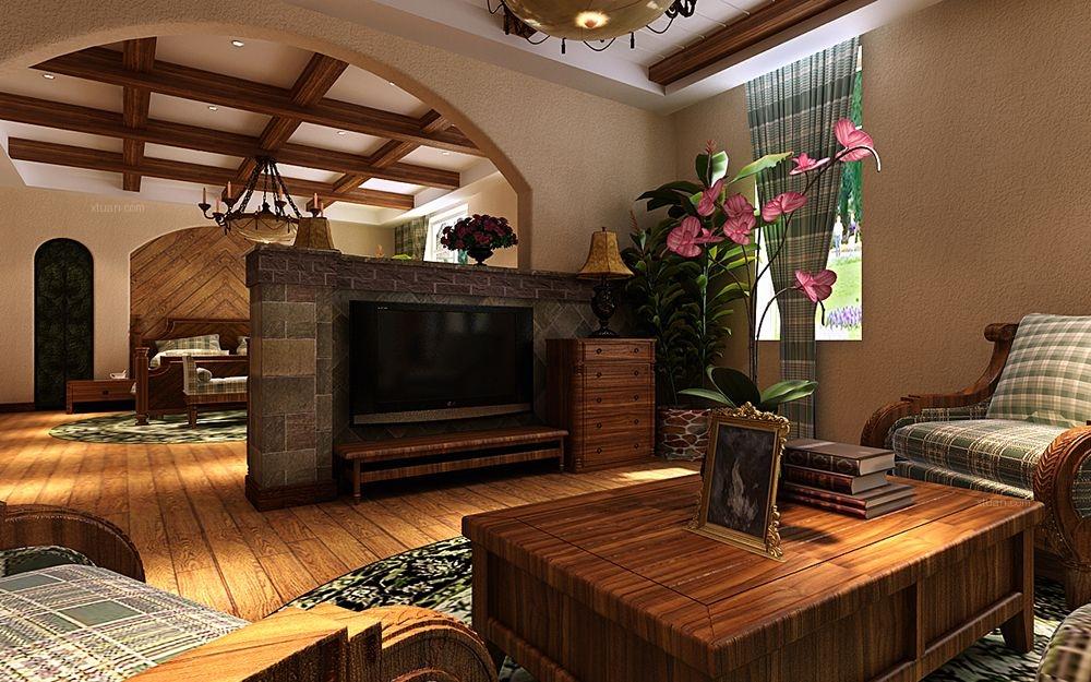 联排别墅美式风格客厅电视背景墙图片