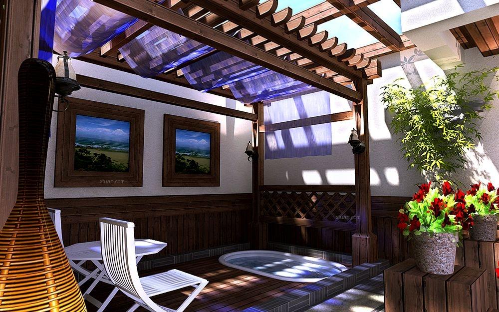 联排别墅美式风格阳光房入户花园图片