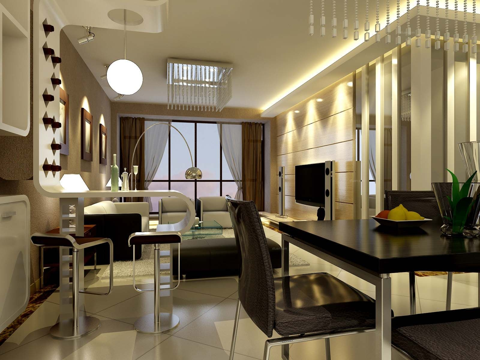 三居室现代风格客厅软装
