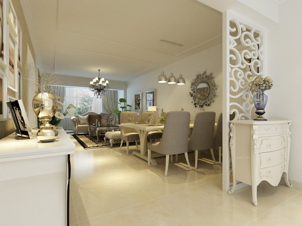 三居室欧式风格餐厅_金地檀溪125平简欧风格装修效果
