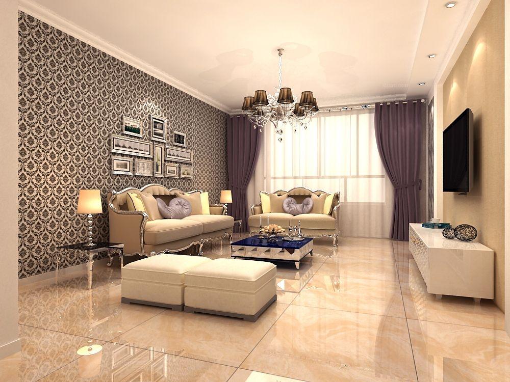三室两厅简欧风格客厅_园中苑装修效果图图片