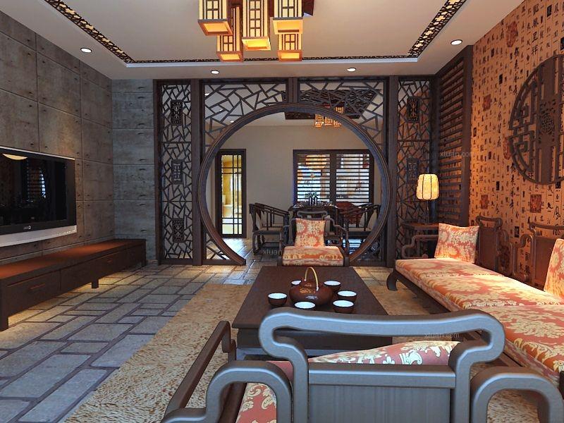 復式樓中式風格客廳電視背景墻