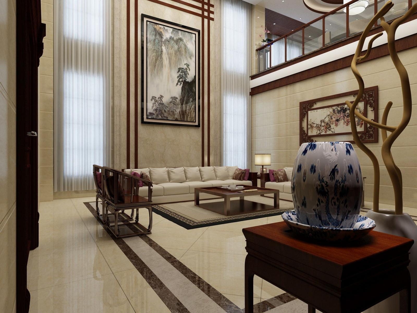别墅中式风格客厅沙发背景墙