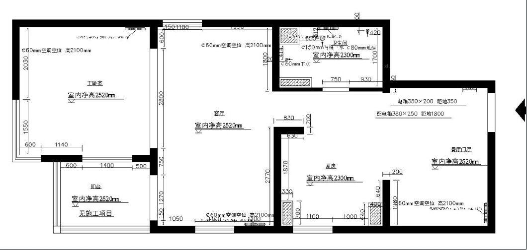 华盛家园小区一居室改三居简约风格