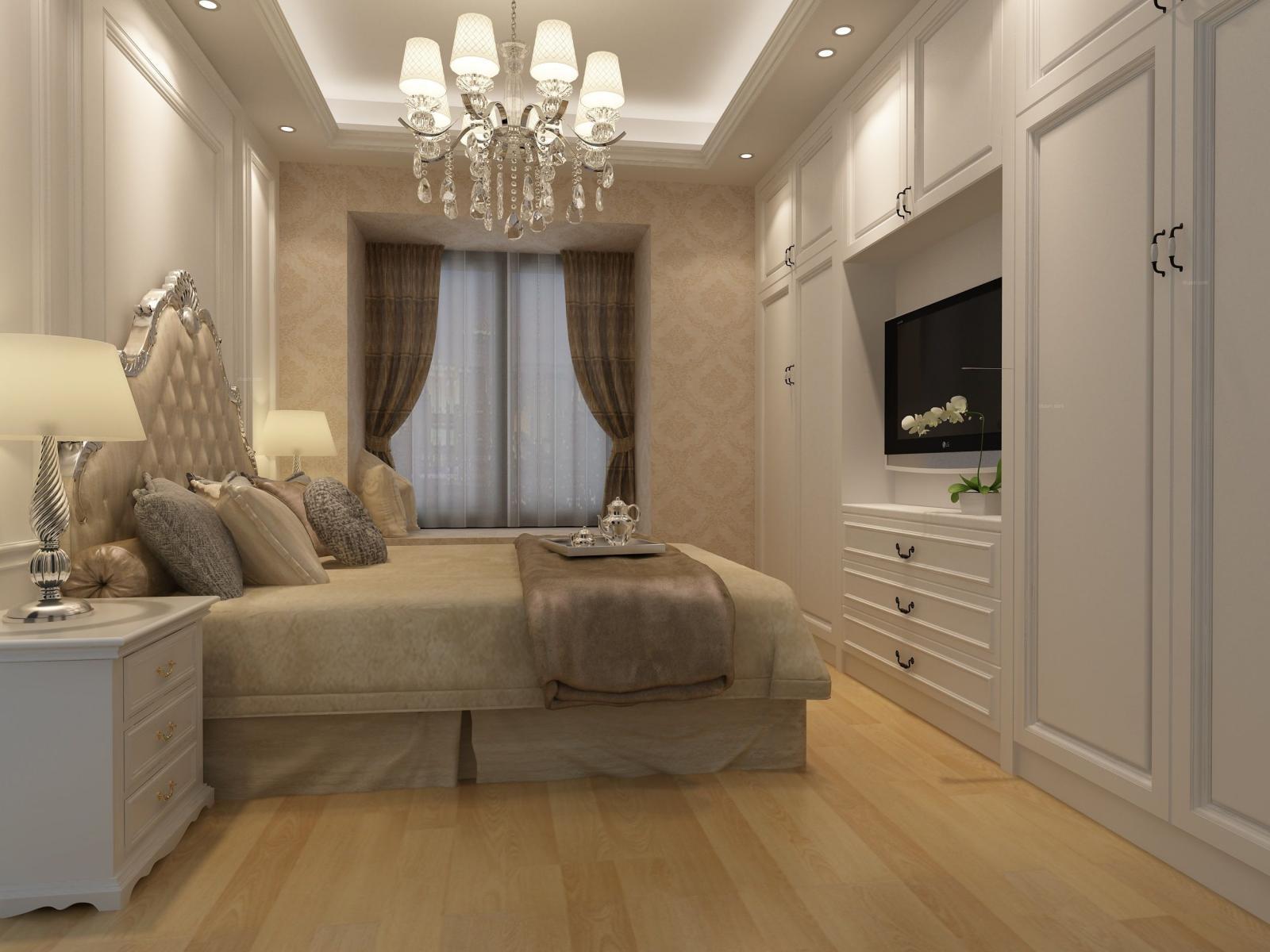 四居室欧式风格主卧室卧室背景墙图片